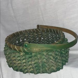 Other - Green Distressed Wicker Basket